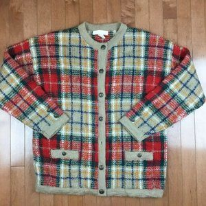 Cape Isles Knitters Mohair Blend Tartan Sweater L